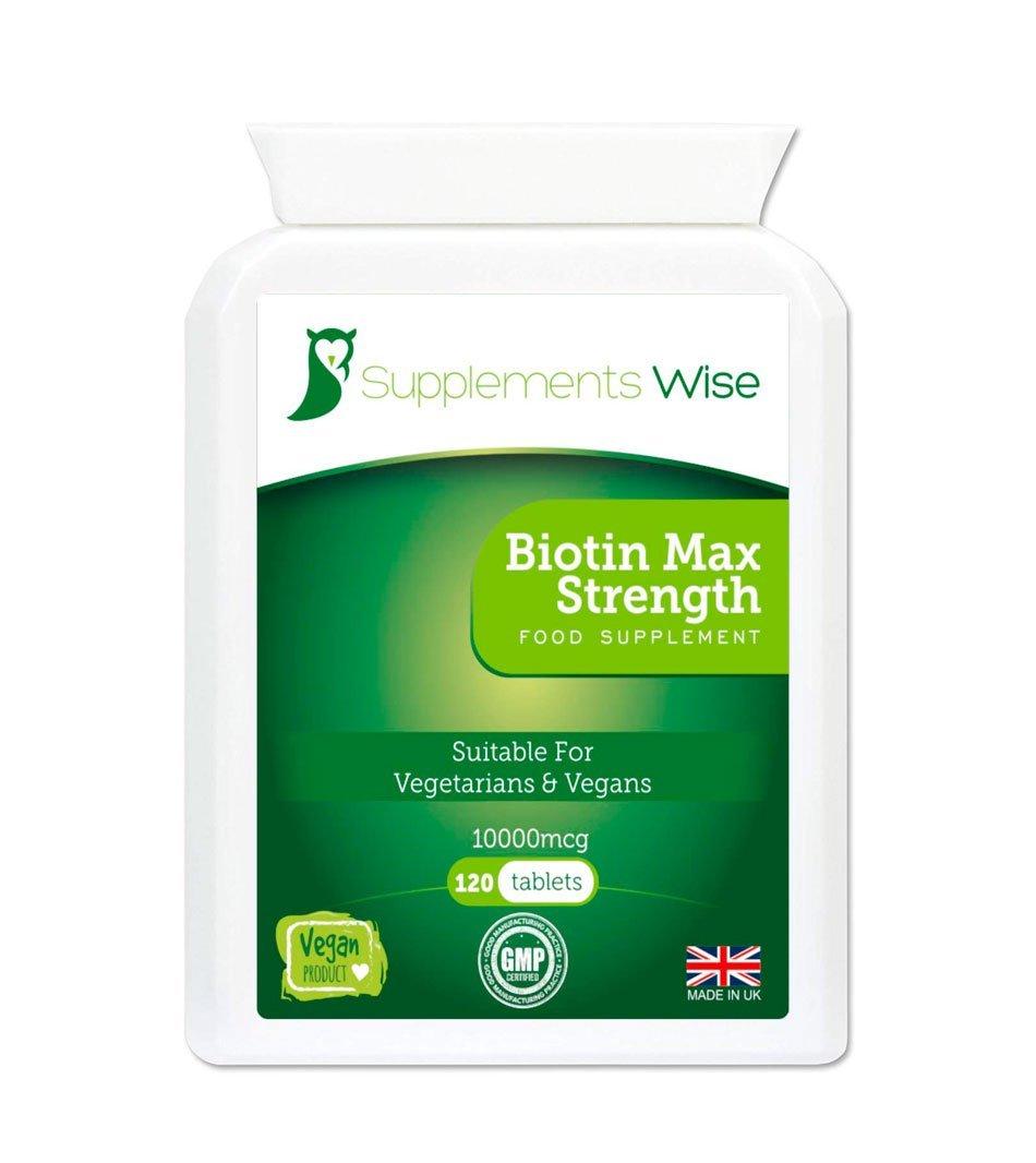 Biotin 10000mcg 120 Tablets For Hair Nail Growth